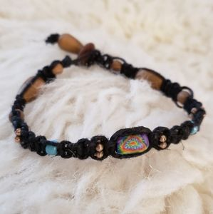 Hippie Tie Dye Bead & Black Cord Macrame …